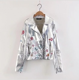 Metallic S Ilver Black Embroidery Stud Imitation Leather Womens Jacket