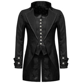 Men's Gothic Victorian Morning Tail Coat Jacket In Pure Cotton Custom Made