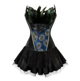 Masquerade Party Women Peacock Feather Body Shaper Overbust Corset Bustier