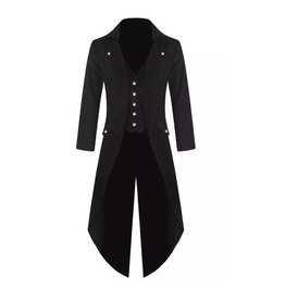 New Steampunk Tailcoat Jacket Gothic Black Victorian Coat, Vest Attached