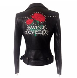 Sweet Sweet Revenge Floral Embroidery Imitation Leather Womens Jacket