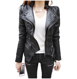 Double Collar Zip Detail Women's Leather Jacket
