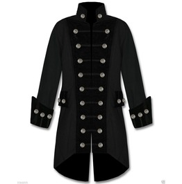 Men's Handmade Black Velvet Trim Goth Steampunk Pirate Coat