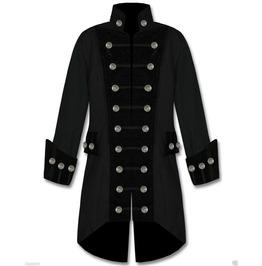 Men's Handmade Black Velvet Trim Goth Steampunk Pirate Coat