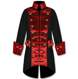 Men's Handmade Red Velvet Trim Goth Steampunk Pirate Coat