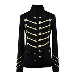 Men's Unique Modern Gold Embroidery Black Military Napoleon Hook Jacket
