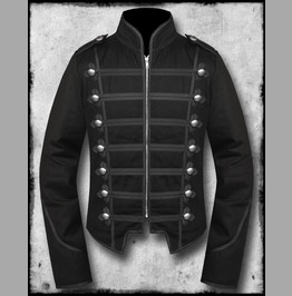 Men's Unique Modern Silver Braid Black Military Napoleon Hook Jacket