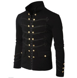 Men's Unique Modern Golden Studs Black Cotton Military Napoleon Hook Jacket