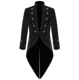 Men's Handmade Black Velvet Trim Goth Steampunk Wedding Coat