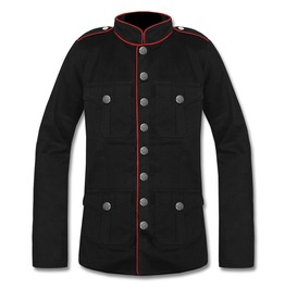 Men's Goth Military Officer Black Cotton Jacket Custom Size 100% Cotton