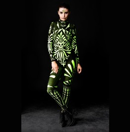 Fluo Mexican Skull Full Body Halloween Jumpsuit Costume
