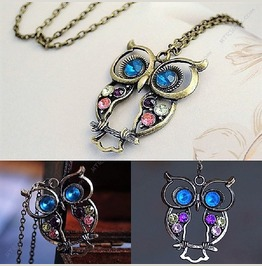 Vintage Retro Multicolor Crystal Rhinestone Owl Long Chain Pendant Necklace