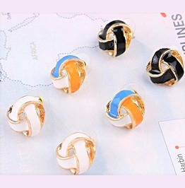 Elegant Retro Vintage Multi Color Twisted Knot Spiral Ball Stud Earrings