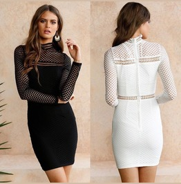 Women Long Sleeve Bodycon Bandage Hollow Out Club Party Cocktail Mini Dress