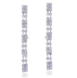 Elegant Sparkling Bridal Long Clear Silver Crystal Rhinestone Drop Earrings