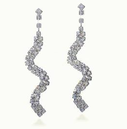 Gorgeous Twisty Bridal Long Swirl Clear Silver Crystal Rhinestone Earrings