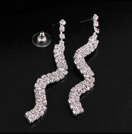 Gorgeous Twisty Bridal Long Swirl Clear Silver Crystal Rhinestone Earrings