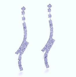 Simply Elegant Bridal Clear Silver Crystal Rhinestone Split Drop Earrings