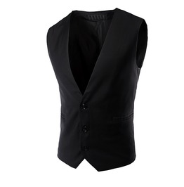 Simple & Elegant Men's Plain Black Thick Cotton 3 Buttons Vest Custom Size