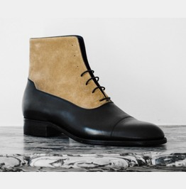 Men Two Tone Boots, Men Tan And Black Lace Up Boot, Men Ankle Leather Boot