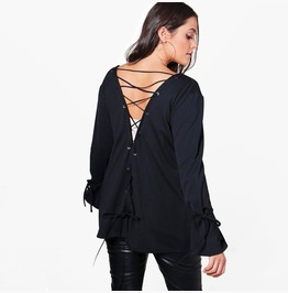 Puls Size Women's Lace Up Loose Cardigan Jacket