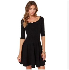 Women's Boat Collar Ruffle Elastic Waist Bodycon A Line Mini Dress