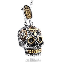 Men's Punk Skull Carving Pendant Stainless Steel Necklace
