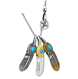 Unisex's Feather Blue Cz Eyes Pendant Necklace
