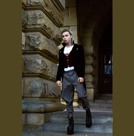 Modern Gothic Steampunk Tailcoat Black/Maroon Velvet Mens Prince Tailcoat