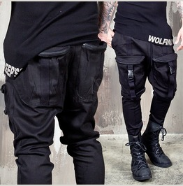 Zippered 4 Cargo Pockets Black Banding Pants 159