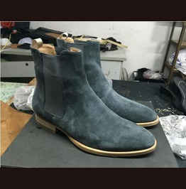 Men Gray Suede Chelsea Boots, Men Chelsea Leather Boots, Ankle Boot For Men