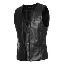 Men's Real Leather Double Layered Sleeveless Motorbike Western Black Vest