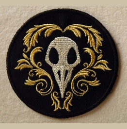 Fancy Ornate Bird Skull Embroidered Patch