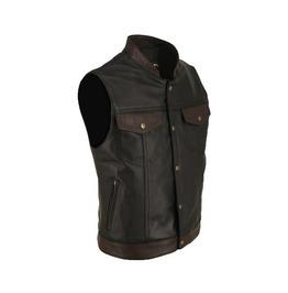 Men's Two Tone Black & Brown Vest In Premium Quality Lamb Leather