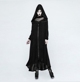 Ladies Long Black Wizard Robe Zip Front Gothic Cloak Free Shipping!