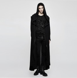 Mens Long Black Wizard Robe Zip Front Gothic Cloak Free Shipping!