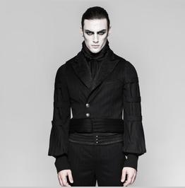 Mens Black Striped Victorian Gothic Waistcoat Vampire Vest Free Shipping