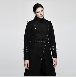 Mens Black Long Belted Goth Coat With Military Buttons Free Shipping