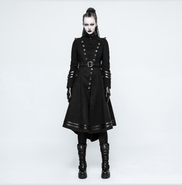 Womens Black Long Belted Goth Coat With Military Buttons Free Shipping