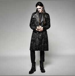 Mens Black 3/4 Length Romantis Goth Coat With Faux Leather Free Shipping