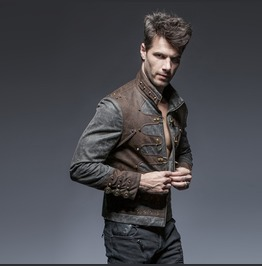 Mens Grey And Brown Mad Max Apocalypse Steampunk Jacket Free Shipping