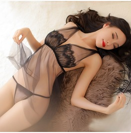 Women's Sexy Lingerie Transparent Lace Dress With G String Underwear