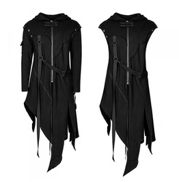 Mens Black Dark Priest Coat Removable Sleeves Cosplay Jacket Free Shipping