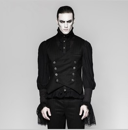 Mens Black Pintriped Victorian Gothic Vampire Waistcoat Vest Free Shipping