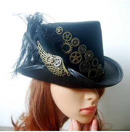 Steampunk Top Hats Handmade Punk Party Black Top Hat