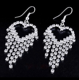 Designer Inspired Bridal Angel Wing Heart Clear Crystal Rhinestone Earrings