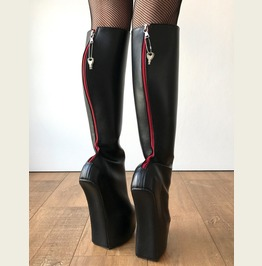 Alpha Lockable Red Back Zip Heavy Hoof Sole Heelless Locking Knee Hi Fetish
