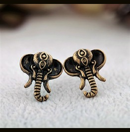 Cute Unique Retro Vintage Antique Bronze Elephant Stud Earrings