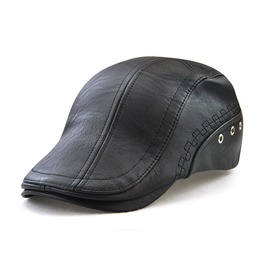 Men's Embroideried Hole Deco Ivy Faux Leather Cap