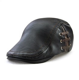 Men's Lace Up Faux Leather Newsboy Ivy Cabbie Driving Hat